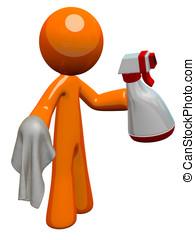 naranja, hombre, Saneamiento, trabajador, rociar, botella,...