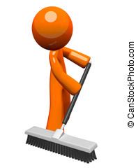 Orange Man Pushing a Broom, Sweeping - Orange man sweeping...