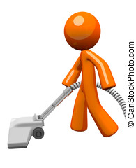 Orange Man Vacuuming 3d Render - Orange man vacuuming and...