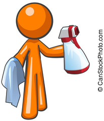 Orange Man Sanitation Worker Spray Bottle and Cloth - Orange...