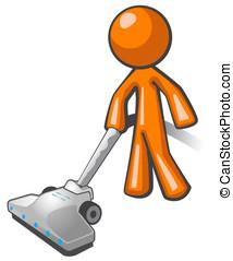 Orange Man Vacuuming