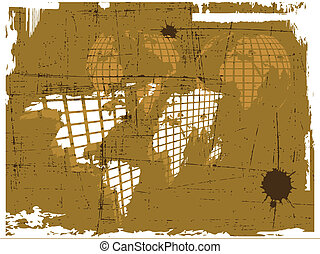 the vector retro grunge world map