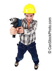 Tradeswoman, segurando, poder, ferramenta