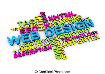 3d web design concept and other related words isolated on...