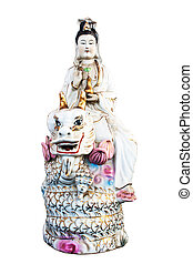 Kuan yin Riding the Dragon isolated on white...