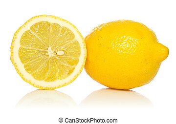 two lemons with reflection