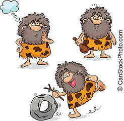 cavemen - set of three cartoon cavemen