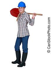 Labourer holding a spade