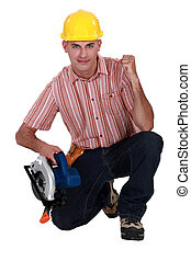 A carpenter making a yes gesture.