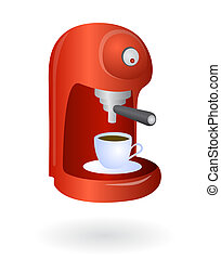 Espresso coffee machine - Home coffee machine isolated with...