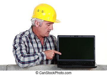 comerciante, Señalar, el suyo, nuevo, computador...