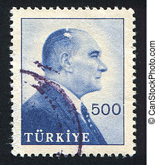 Kemal Ataturk - TURKEY - CIRCA 1959: stamp printed by...