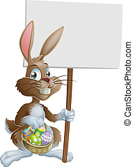 Easter bunny rabbit holding sign - Easter bunny rabbit...