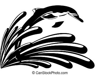 Dolphin against splashing water. Black and white...