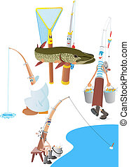 Fishing - Abstract pole and net The illustration on a white...