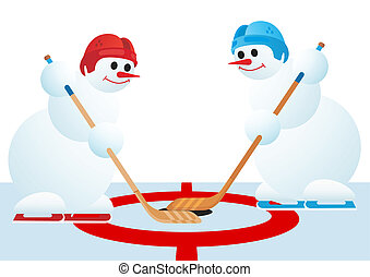 Hockey players - Two snowmen playing hockey The illustration...