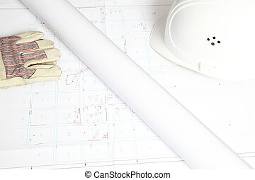 Construction Plan with helmet and gloves