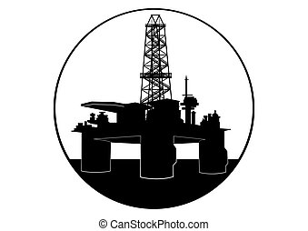 Oil drilling rig - Oil industry Black and white illustration...