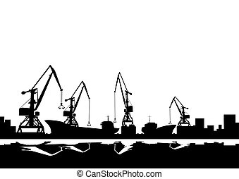 Port cranes and ships - Working cranes. Black and white...
