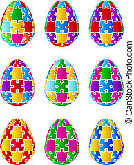 Isolated Jigsaw Puzzle Easter Eggs - Nine Easter eggs in the...