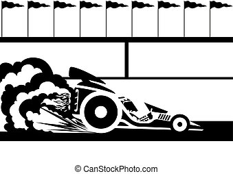 Race car - A racing car at the stadium. Black and white...