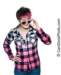 funny woman with pink sunglasses