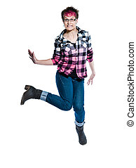Funky nervous casual young woman jumping
