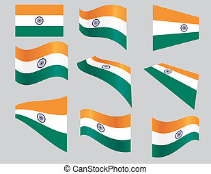 set of Indian flags