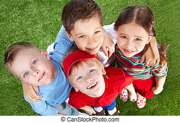Cheerful buddies - Smiling children spending time together...