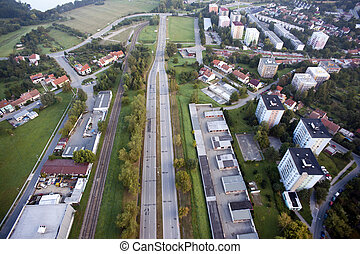 Aerial view of houses and old highway, Brno, Czech Republic