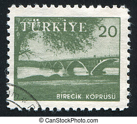 Euphrates Bridge Birecik - TURKEY - CIRCA 1959: stamp...