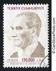 Kemal Ataturk - TURKEY - CIRCA 1999: stamp printed by...