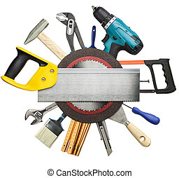 Conctruction background - Carpentry, construction tools...