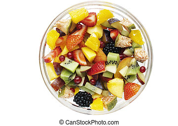 fresh fruit salad in a glass bowl - isolated fresh fruit...