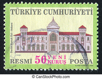 State Guest House Ankara - TURKEY - CIRCA 2005: stamp...