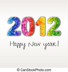 2012 New year - Happy new year 2012, colour stickers EPS10