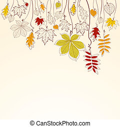 Autumn falling leaves background - Hand drawn autumn falling...