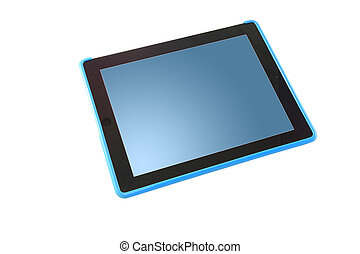 Blue screen tablet perspective.