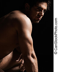 handsome sexy topless macho man portrait - handsome...