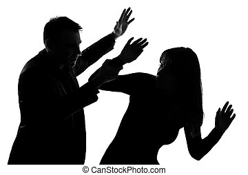 one couple man and woman domestic violence - one caucasian...