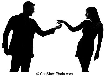 one couple man holding out inviting hand in hand woman