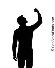 um, negócio, homem, zangado, fisting, cima, silueta