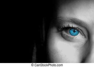 Sophie staring - A semi-monochromatic image of a beautiful...