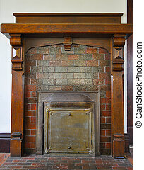 Fireplace with Wood Mantel - Old wood mantel above a fire...