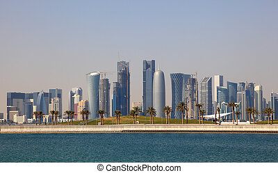 Skyline of Doha downtown district. Qatar, Middle East
