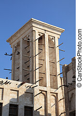Traditional wind tower in Doha, Qatar
