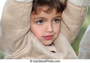 コート, 暖かい, 若い, 子供