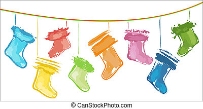 Christmas stockings - Sketchy colour Christmas stockings on...
