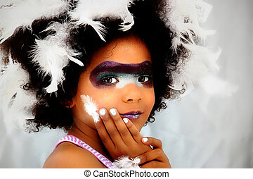 Adorable Black Girl Child Dressed for Mardi Gras Carnival -...