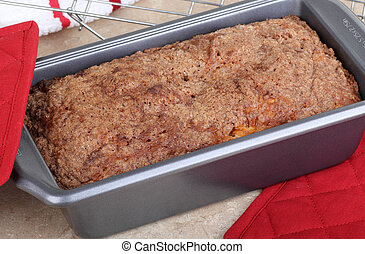 Quick Bread - Baked quick bread in a baking pan